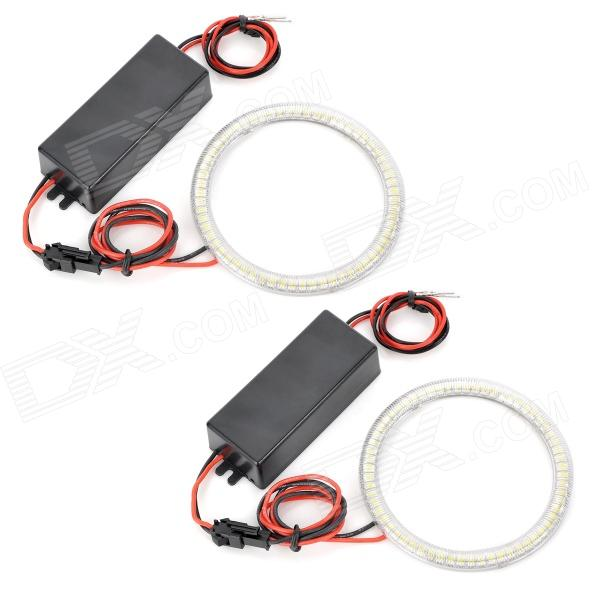 85mm Round Shape 63-SMD 3528 LED Cool White Angel Eyes Car Daytime Running Light (12~24V / 2 PCS)