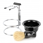 3-in-1 Man's Manual 2-Blade Single-Head Shaver Razor Set - Black + Silver