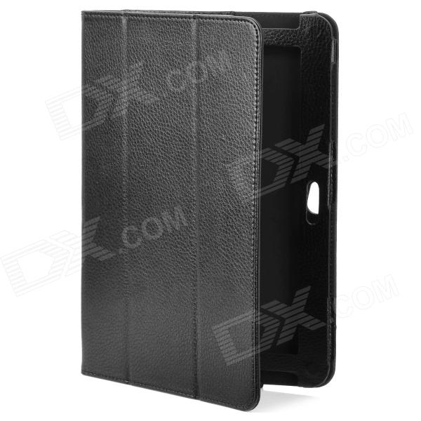 Lychee Pattern Protective PU Leather Case for Samsung Galaxy Note 10.1 N8000 - Black