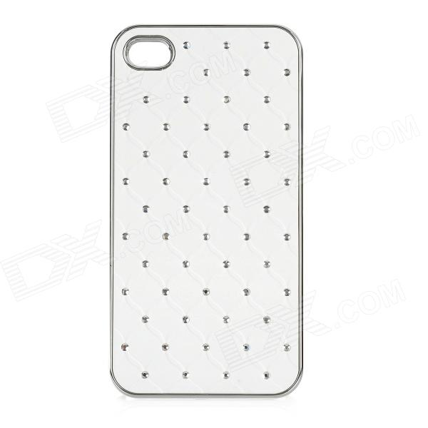 Protective Plastic Back Case with Crystalfor Iphone 4 / 4S - White