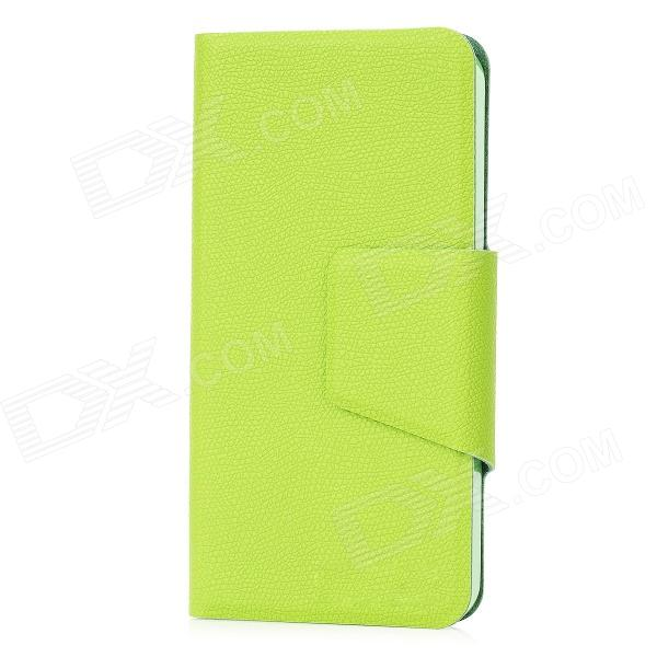 Lichee Pattern Ultra-Thin Protective PU Leather Flip Open Case for Iphone 5 - Green ultra thin protective flip open pu leather cover with plastic back case for iphone 5 red