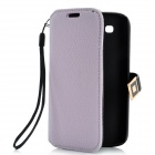 Protective PU Leather Case w/ Metal Buckle for Samsung i9300 - Light Purple