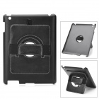 Protective PU Leather + Plastic 360 Degree Rotatable Stand Case for Ipad 2 / New Ipad - Black