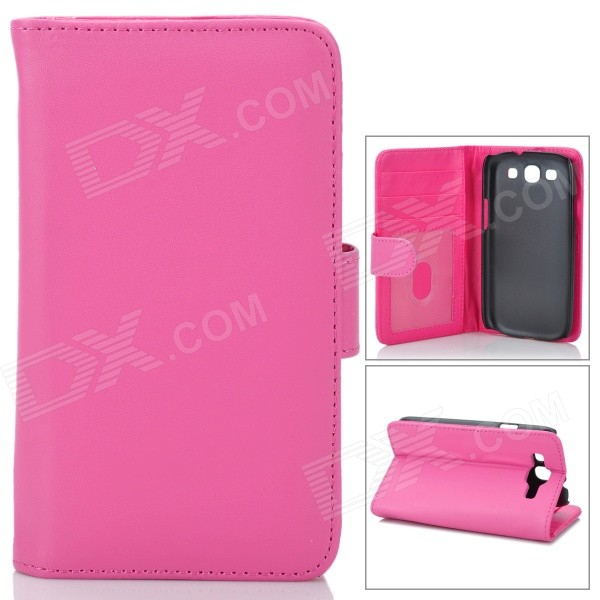 Protective PU Leather Case w/ Card Slots for Samsung i9300 Galaxy S3 - Deep Pink protective pu leather case w card slot for samsung galaxy tab3 p3200 deep pink