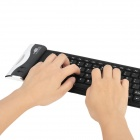 Wired Silicone Flexible 107-Key Keyboard - Black