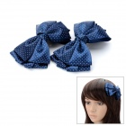 Cute Clip-On Bowknot Hairpins - Sapphire Blue (Pair)