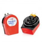 HT-807C Auto Parts Car Electric Horn Speaker w/ Current Regulator - Red (Pair / DC 12V)