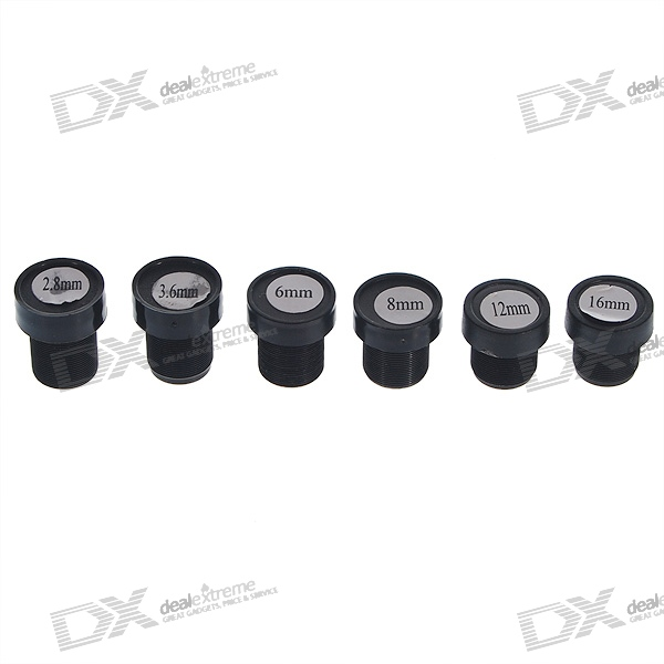 2.8mm~16mm Fixed IRIS Lens Set for Webcams and Security/CCTV Cameras (6-Lens Pack)