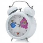 "Schmetterling Muster 3 ""Face Stille Twin Bell Alarm Clock - White + Black (1 x AA)"
