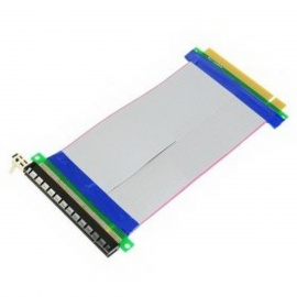 PCI Express PCI-E 16X Male to Female Extender Ribbon Cable for 1U / 2U - Grey