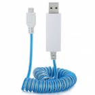 USB 2.0 Male to Micro USB Male Curl Spring Retractable Data / Charging Cable - White + Blue (130cm)