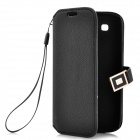 Protective PU Leather Case w/ Metal Buckle for Samsung i9300 - Black