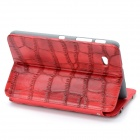 Crocodile Grain Pattern Protective PU Leather Case for Samsung P3100 - Red