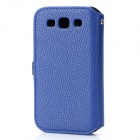 Protective PU Leather Case w/ Metal Buckle for Samsung i9300 - Blue