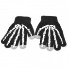 Cool Skeleton Hand Pattern Capacitive Screen Touching Hand Warmer Gloves - Black + White (Pair)