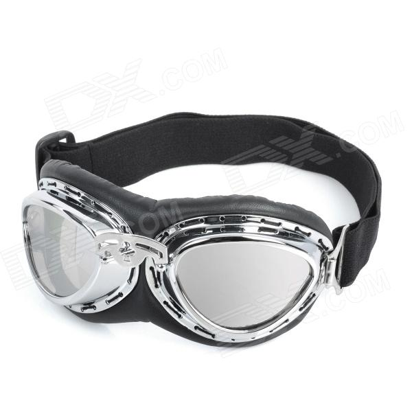 Fashion Silver Plating PC Lens Safety Motorcycle Goggles - Silver Frame