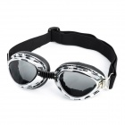 Fashion Folding Motorcycle Riding Eye Protection Tawny PC Lens Glasses Goggle - Silver Frame