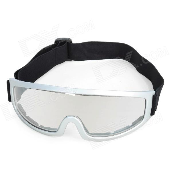 Fashion Transparent PC Lens Safety Motorcycle Riding Goggles - Silver Frame