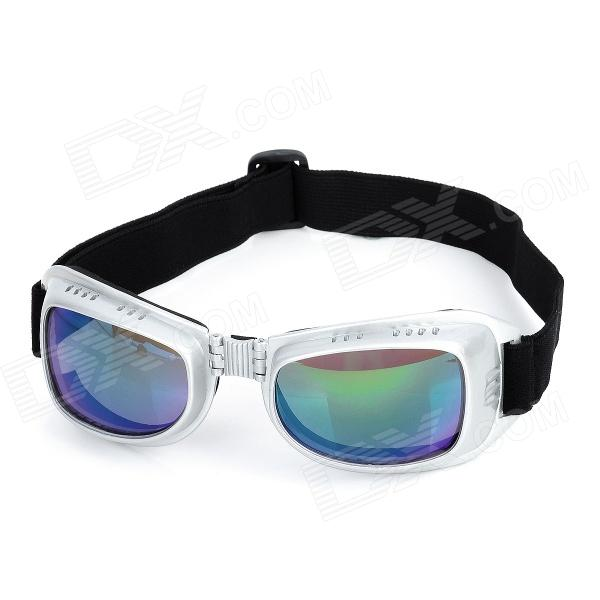 Fashion Reflective PC Lens Safety Motorcycle Riding Goggles - Glossy Silver Frame
