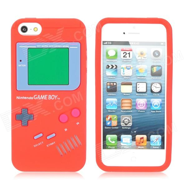 Protective Game Boy Style Silicone Case Cover for iPhone 5 - Red