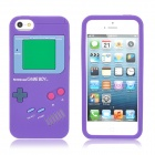 Protective Game Boy Pattern Silicone Case Cover for iPhone 5 - Purple