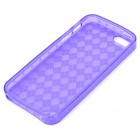 Protective Diamond Grid Pattern TPU Case Cover for Iphone 5 - Transparent Purple