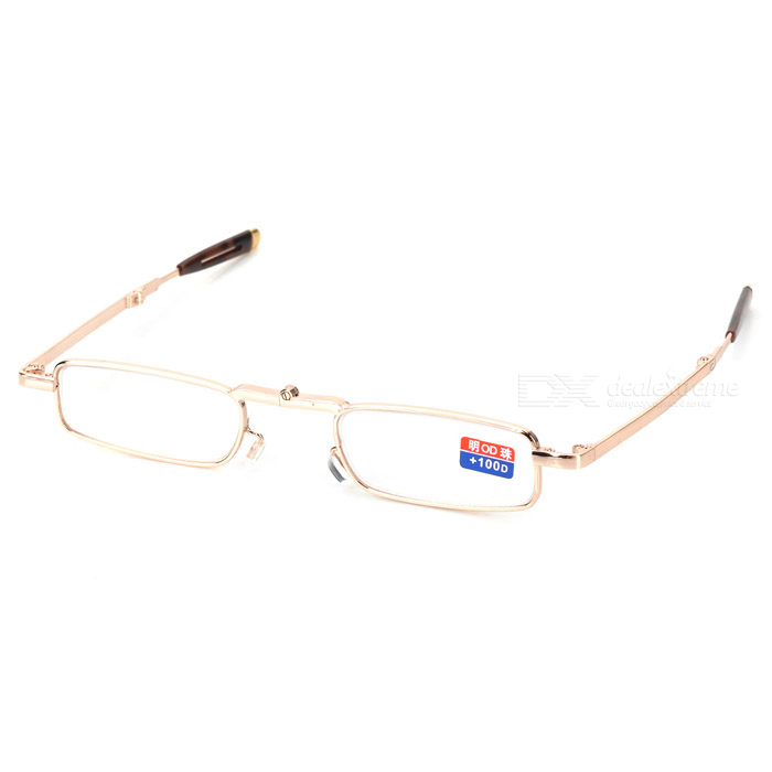 Alloy Frame Foldable Reading Glasses with Protective Case (+1.00D)