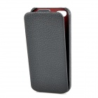 Protective Top Flip Open PU Case Cover for Iphone 5 - Black