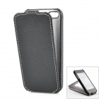 Lychee Pattern Protective Flip-Open PU Leather Case for Iphone 5 - Black