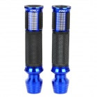 Comfortable Anti-Slip Aluminum Alloy Motorcycle Handle Grips - Blue + Black + Silver (2 PCS)
