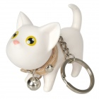 Cute Cartoon Cat Toy w / 360 Grad drehen Head & Keychain - Weiß