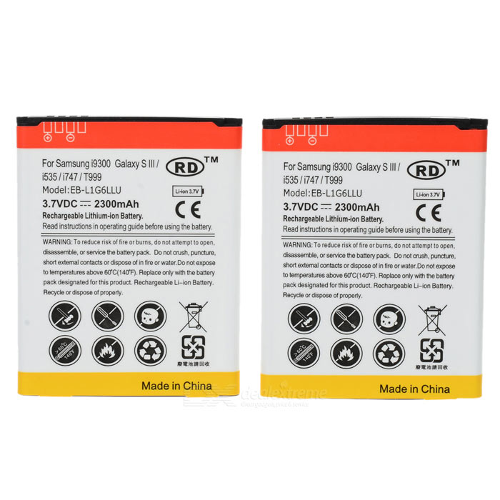 Replacement 3.7V 1800mAh Battery for Samsung i9300 Galaxy S3 (2 PCS) replacement dmw bcf10e s009 3 7v 940mah battery for panasonic fs6 fs7 fs15 fs25 ft1