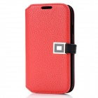 Protective PU Leather Case w/ Metal Buckle for Samsung i9300 - Red