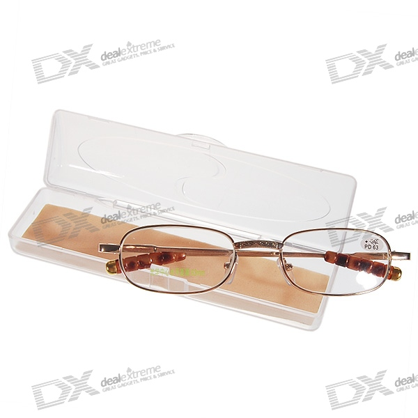 Alloy Frame Reading Glasses with Protective Case (+2.00D)