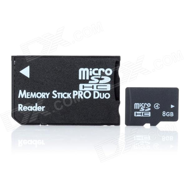 8GB Class 4 Micro SD / TF Card + MS Card Adapter Set - Black
