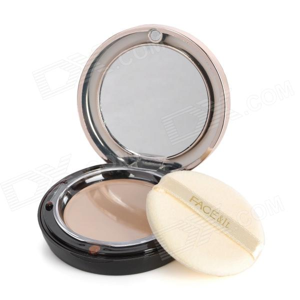 2-in-1 Cosmetic UV Protection Dry Wet Powder w/ Mirror / Puff - Ivory White bob cosmetic makeup powder w puff mirror dark beige 03
