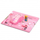 1000DPI Wireless Optical Mouse + Mouse Pad w/ USB Receiver - Pink (2 x AAA)