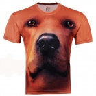 3D Printed Dog Style Short Sleeve T-shirt for Men - Brownish Red (Size-XXL)