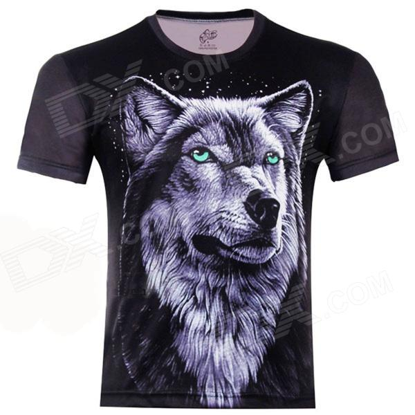 3D Printed Wolf King Short Sleeve T-shirt for Men - Black (Size-XXL) купить