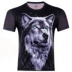 3D Printed Wolf King Short Sleeve T-shirt for Men - Black (Size-XXL)
