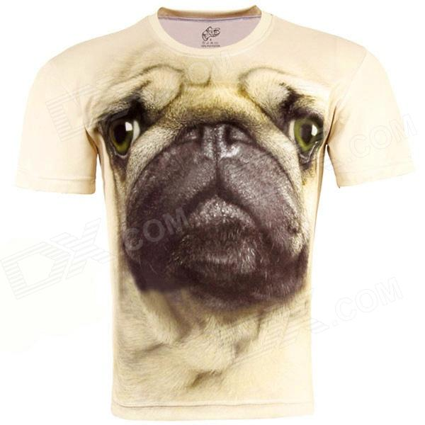 3D Printed Pug Style Short Sleeve T-shirt for Men - Beige (Size-XL) 3d fire wolf head style shorts for men black size xl