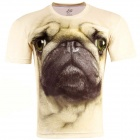 3D Printed Pug Style Short Sleeve T-shirt for Men - Beige (Size-XL)
