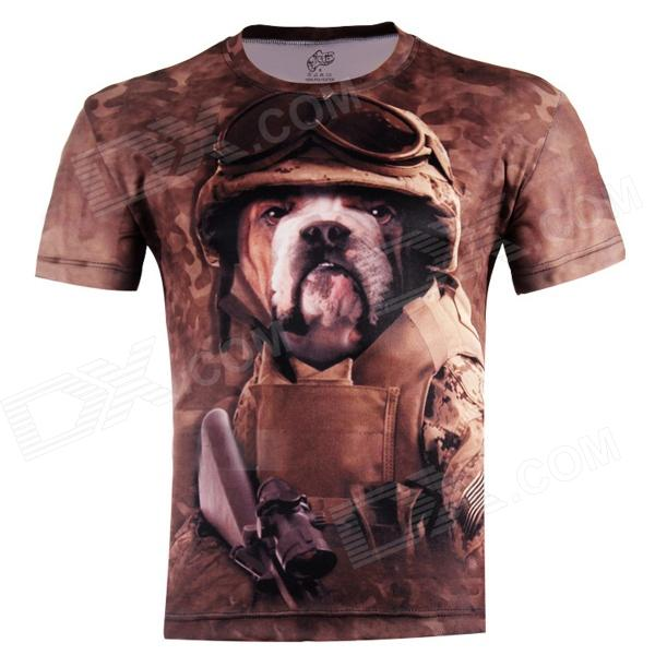 3D Printed Dog Head Warrior Short Sleeve T-shirt for Men - Brown (Size-XXL)