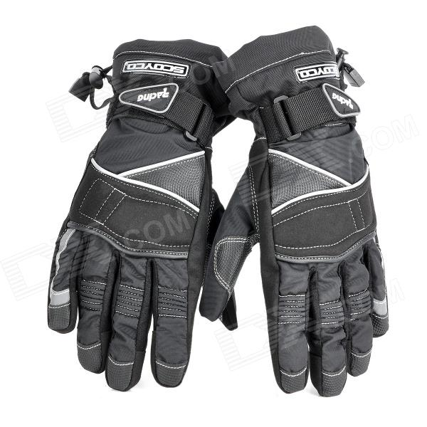 Scoyco MC15-L Full-Fingers Motorcycle Racing Gloves - Black (Pair / Size L) scoyco mc16 water resistant full fingers motorcycle gloves blue black pair size l