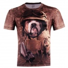 3D Printed Dog Head Warrior Short Sleeve T-shirt for Men - Brown (Size-XXXL)