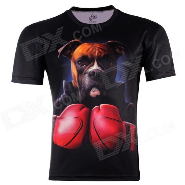 3D Boxing Dog Style Short Sleeve T-shirt for Men - Black (Size-XXL)