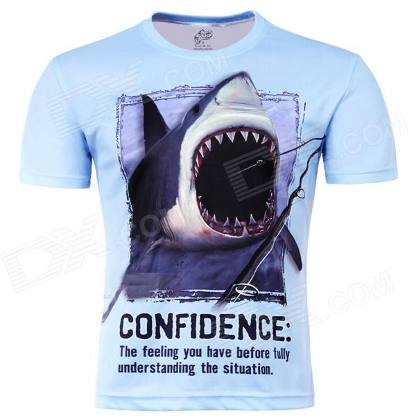 Laonongzhuang 3D Printed Shark Pattern Round Neck Short Sleeve T-shirt - Light Blue (Size-XL) цена и фото