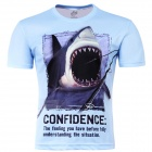 Laonongzhuang 3D Printed Shark Pattern Round Neck Short Sleeve T-shirt - Light Blue (Size-XL)