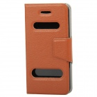 Protective PU Leder + Plastic Cover Case mit Dual-Slide für iPhone 5 - Coffee
