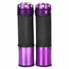 Comfortable Anti-Slip Latex Motorcycle Handle Grips - Purple + Black + Silver (2 PCS)